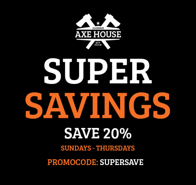 Agawam Axe House - Axe Throwing - Axe throwing near me - Promo Coupon Deal Discount